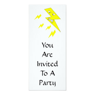Angry Lightning Bolt. Yellow on White. 10 Cm X 24 Cm Invitation Card