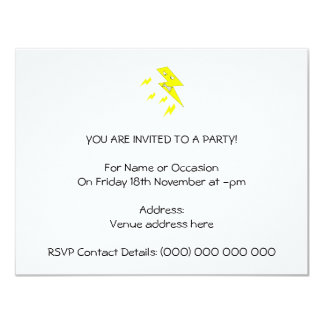 Angry Lightning Bolt. Yellow on White. 11 Cm X 14 Cm Invitation Card