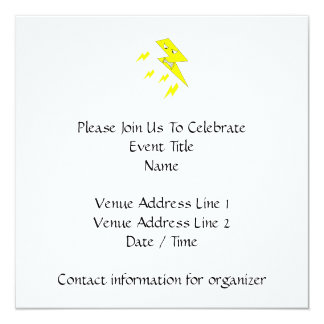 Angry Lightning Bolt. Yellow on White. 13 Cm X 13 Cm Square Invitation Card