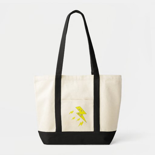 Angry Lightning Bolt. Yellow on White. Canvas Bag