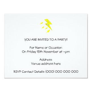 Angry Lightning Bolt. Yellow on White. 11 Cm X 14 Cm Invitation Card