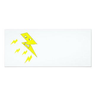 Angry Lightning Bolt. Yellow on White. Invitation
