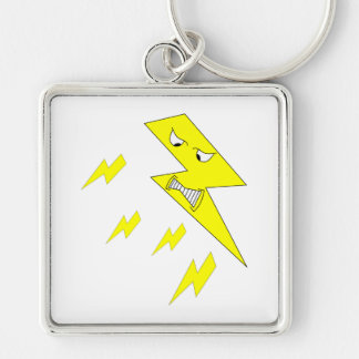 Angry Lightning Bolt. Yellow on White. Key Ring