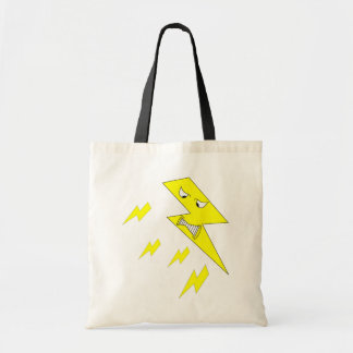Angry Lightning Bolt. Yellow on White. Canvas Bags