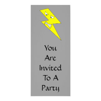 Angry Lightning. Yellow on Gray. 10 Cm X 24 Cm Invitation Card