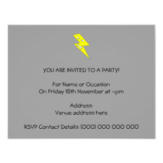 Angry Lightning. Yellow on Gray. 11 Cm X 14 Cm Invitation Card