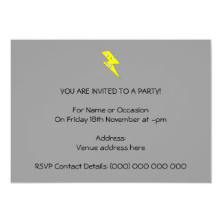 Angry Lightning. Yellow on Gray. 13 Cm X 18 Cm Invitation Card