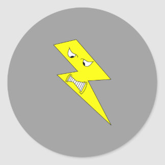 Angry Lightning. Yellow on Gray. Classic Round Sticker