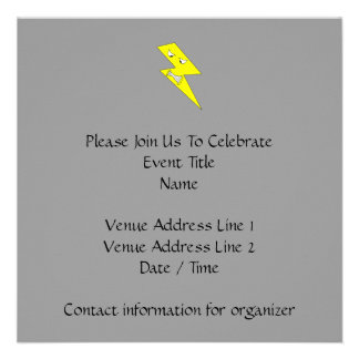 Angry Lightning Yellow on Gray Invitations