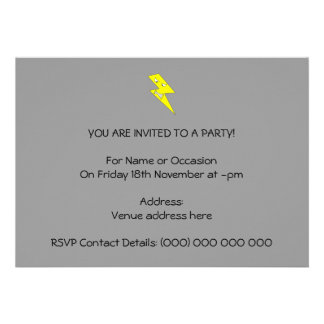 Angry Lightning Yellow on Gray Personalized Invitations
