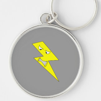 Angry Lightning. Yellow on Gray. Key Ring