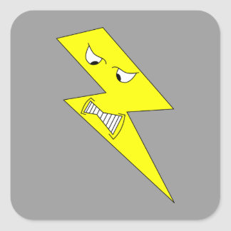 Angry Lightning. Yellow on Gray. Square Sticker