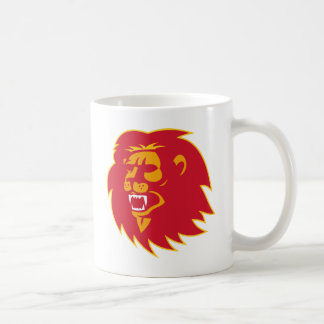 angry lion head roaring mug
