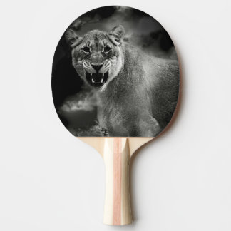 Angry lion in black and white ping pong paddle