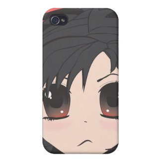 Angry Little Chibi Girl with Black Hair Case For The iPhone 4