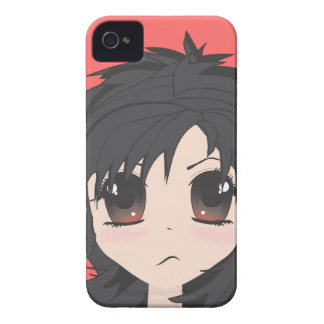 Angry Little Chibi Girl with Black Hair iPhone 4 Cases