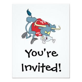 angry longhorn bull charging forward cartoon 11 cm x 14 cm invitation card