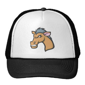 Angry Mad Wild Brown Horse Cartoon Trucker Hats