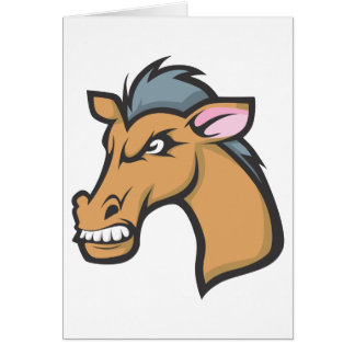 Angry Mad Wild Brown Horse Cartoon Greeting Cards