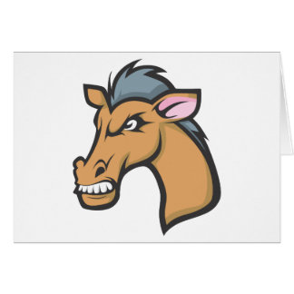 Angry Mad Wild Brown Horse Cartoon Greeting Card