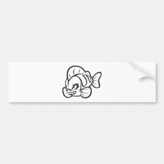 Angry Mad Wild Fish Outline Cartoon Bumper Sticker