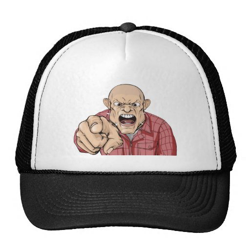 Angry man with shaved head shouting and pointing hats
