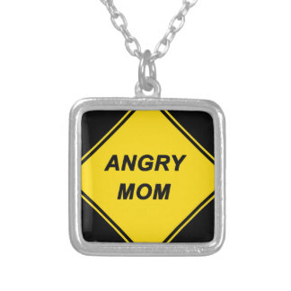 """""""Angry Mom"""" design Silver Plated Necklace"""