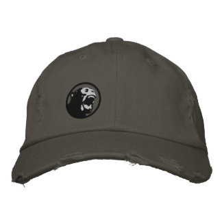 Angry Monkee Hat - Black/Dark Grey Embroidered Cap