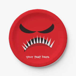 Angry Monster With Evil Eyes and Sharp Teeth Red 7 Inch Paper Plate
