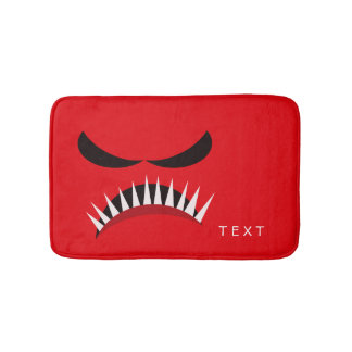 Angry Monster With Evil Eyes and Sharp Teeth Red Bath Mat