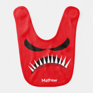 Angry Monster With Evil Eyes and Sharp Teeth Red Bib