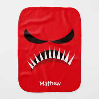 Angry Monster With Evil Eyes and Sharp Teeth Red Burp Cloth