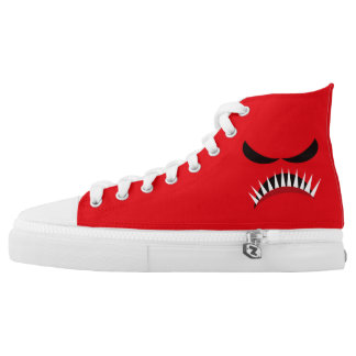 Angry Monster With Evil Eyes and Sharp Teeth Red High Tops