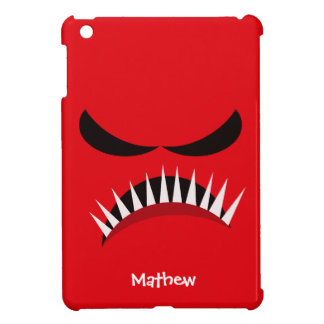 Angry Monster With Evil Eyes and Sharp Teeth Red iPad Mini Cover