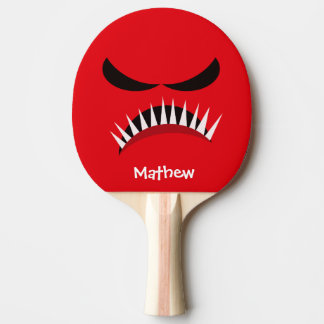 Angry Monster With Evil Eyes and Sharp Teeth Red Ping Pong Paddle
