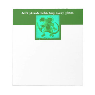 angry mouse holds knife funny cartoon notepads