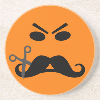 Angry Mustache Smiley coaster