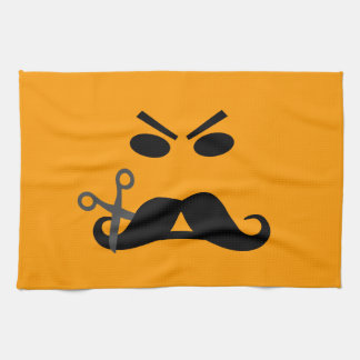 Angry Mustache Smiley custom kitchen towel