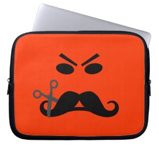 Angry Mustache Smiley custom laptop sleeve