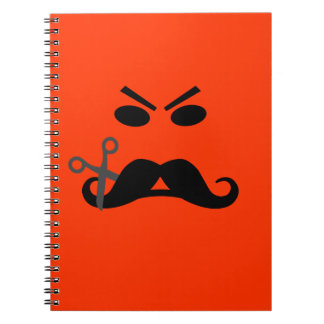 Angry Mustache Smiley custom notebook