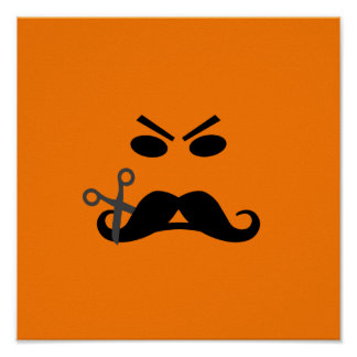 Angry Mustache Smiley custom poster