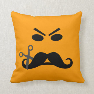 Angry Mustache Smiley custom throw pillow