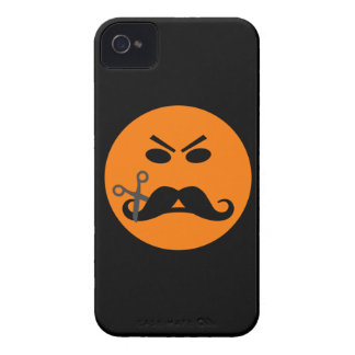 Angry Mustache Smiley iPhone 4 case-mate
