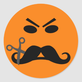 Angry Mustache Smiley  stickers