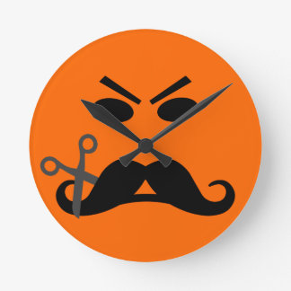 Angry Mustache Smiley wall clock