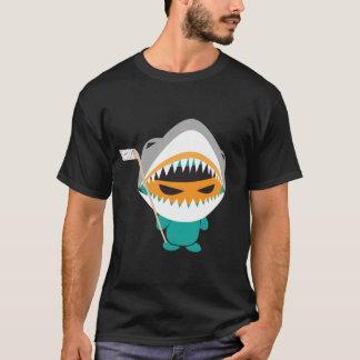 angry ninja shark hockey t shirt
