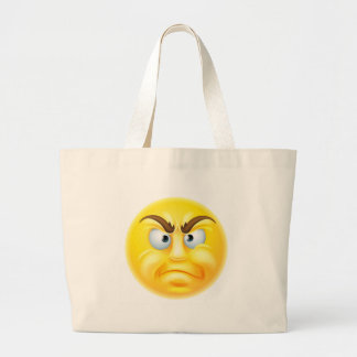 Angry or Disapproving Emoticon Emoji Large Tote Bag
