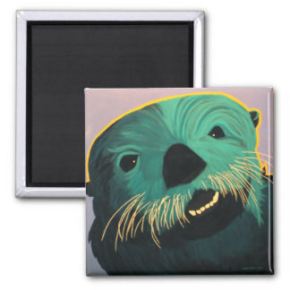 Angry Otter Square Magnet