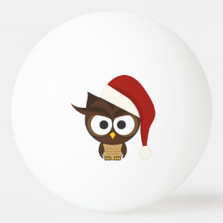 Angry Owl wearing Santa Hat Ping Pong Ball