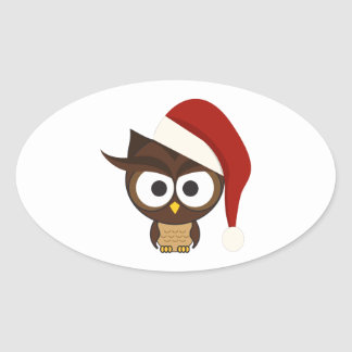 Angry Owl wearing Santa Hat Sticker